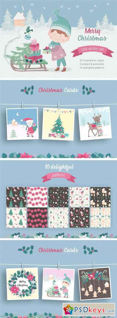 Merry Christmas Illustration Set 2039378