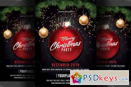 Merry Christmas Party Flyer Template 2058399