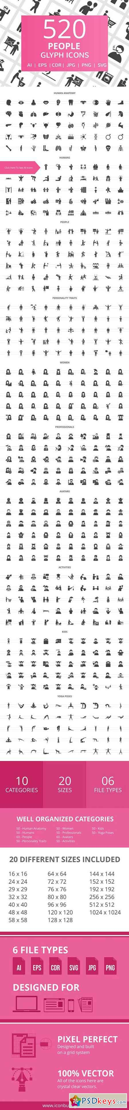 520 People Glyph Icons 2041531