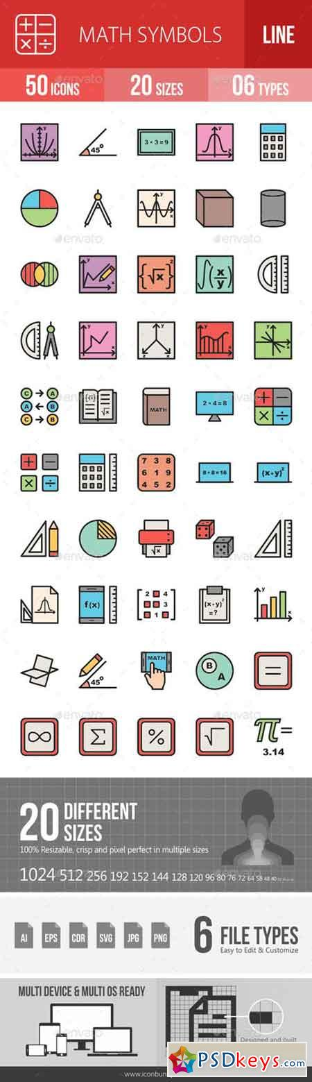 Math Symbols Line Filled Icons 19260184 Free Download Photoshop