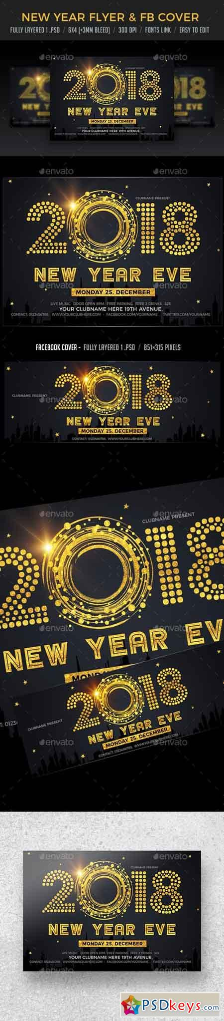 New Year Eve Flyer & FB Cover 21045247