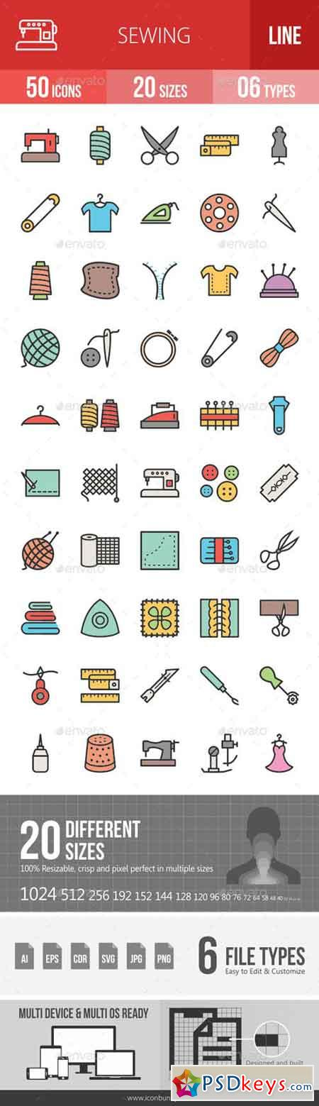Sewing Line Filled Icons 19260219