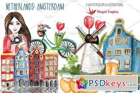 Amsterdam Netherlands travel set 2058616