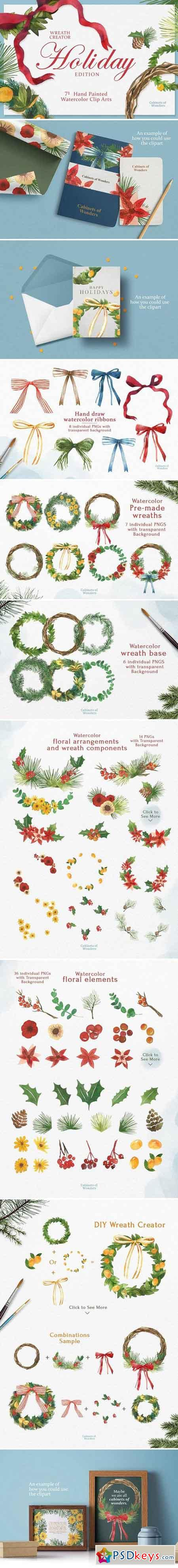 Holiday Wreath Watercolor Clipart 2058570