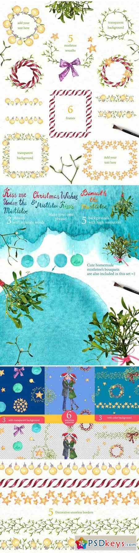 Christmas Mistletoe Watercolor Set 2058418