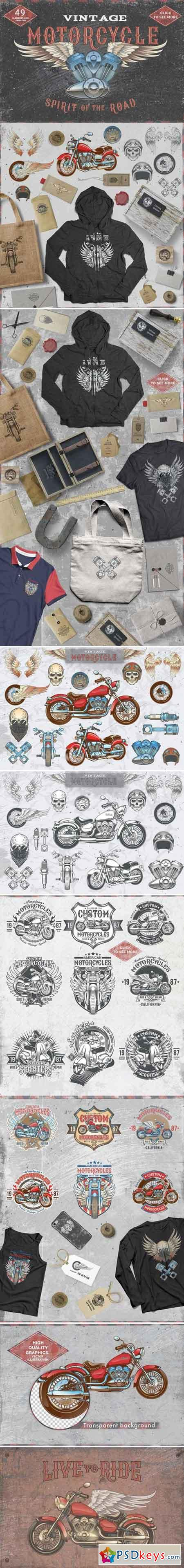 Set Vintage motorcycle labels 2045223
