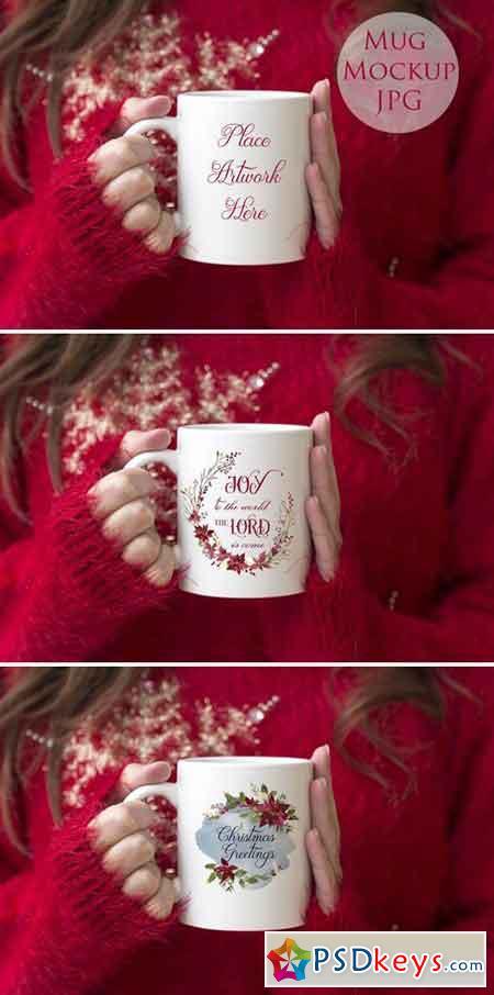Woman holding mug -christmas mockup 2058545