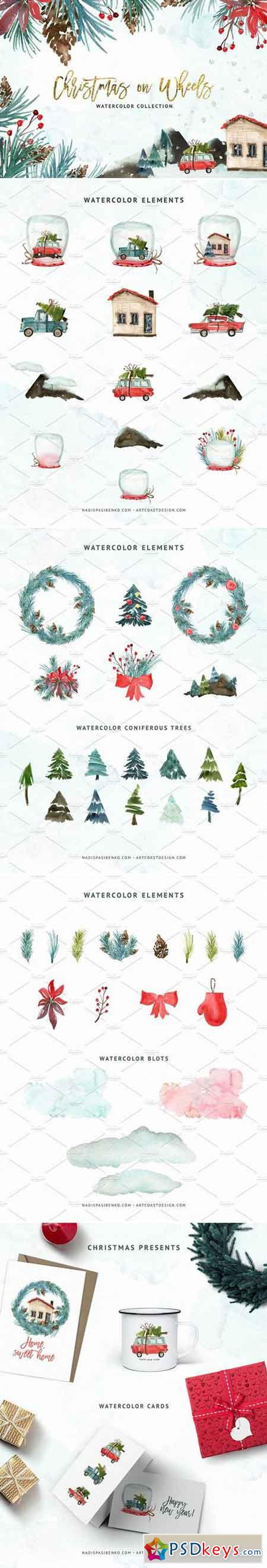 Watercolor Christmas on Wheels 2058398