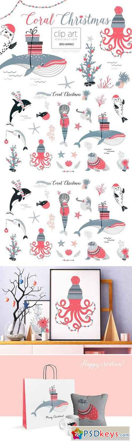 Coral Christmas clip art collection 2057034
