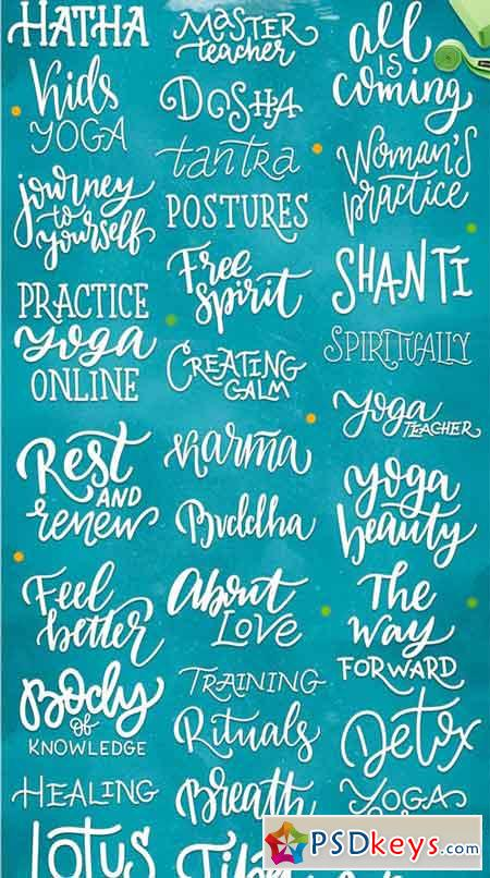 Yoga Studio Lettering & Graphic Set 2053763