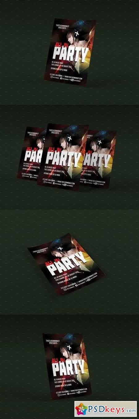 All-In Party PSD Flyer Template 1964552