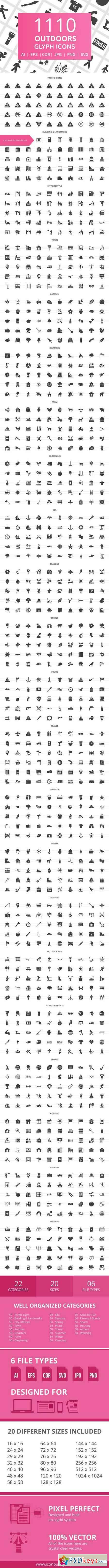 1110 Outdoors Glyph Icons 2041477