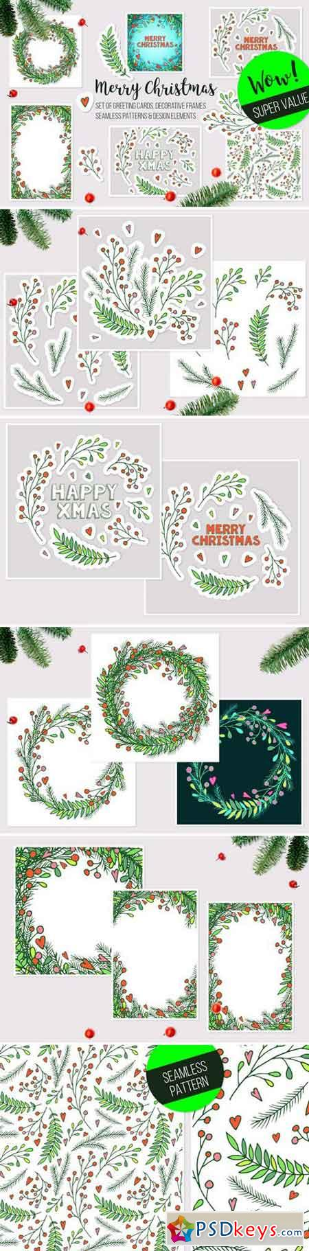 Christmas vector frames, elements 2088095