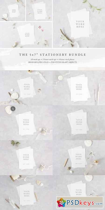 BUNDLE 5x7 stationery mock up pack 1431623