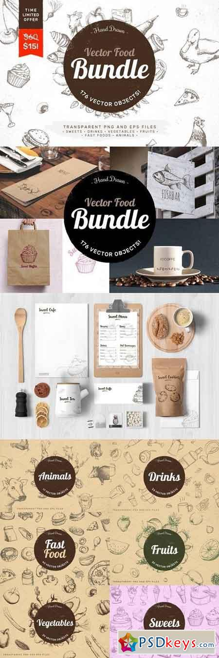 Hand Drawn Vector Food Bundle 1431763
