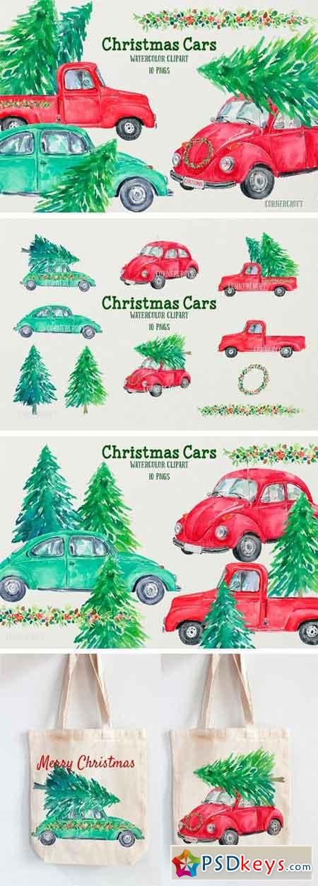 Watercolor Christmas Cars 2054954