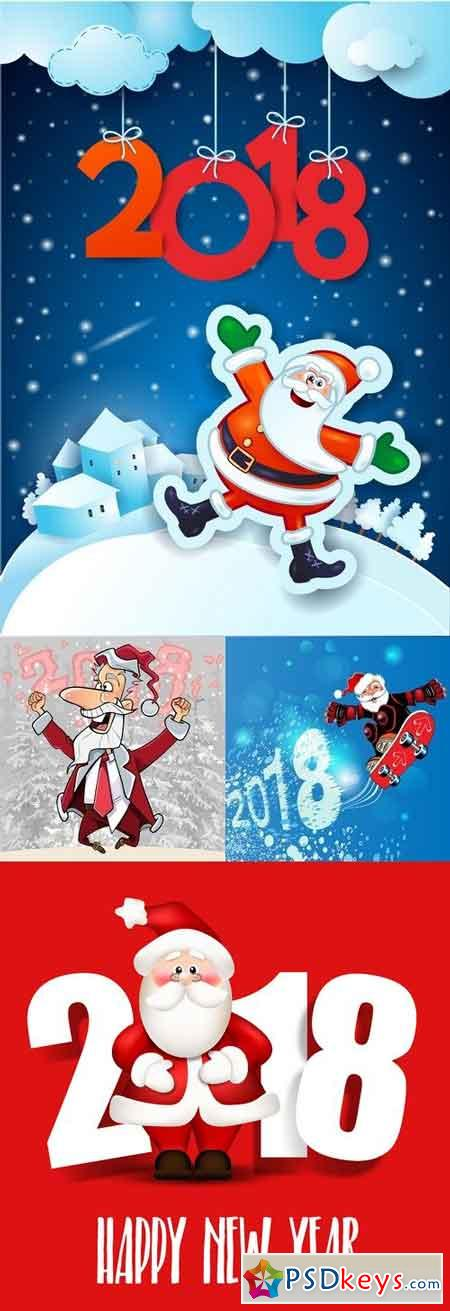 Vectors - 2018 Year Backgrounds with Santa Claus