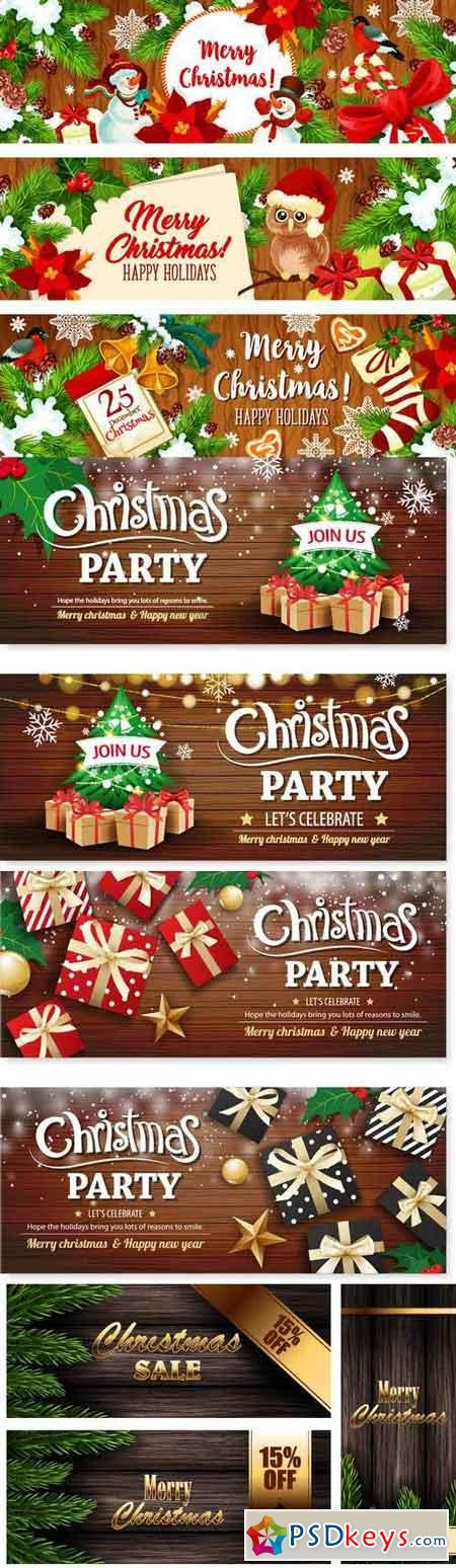 Vectors - Wooden Christmas Banners 2