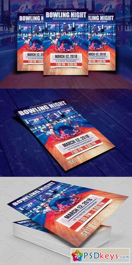 Bowling Night Flyer Template 1792235