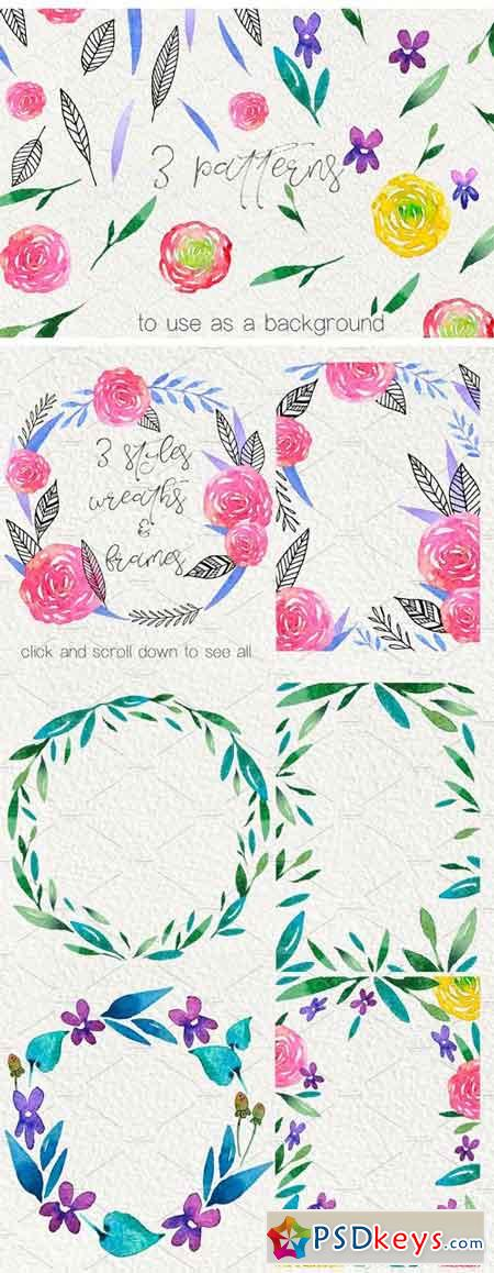 Flower Wine - Watercolor Design Kit 2052627