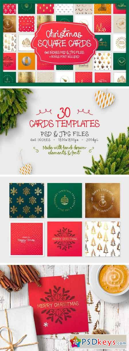Christmas Square Cards + Bonus 2053819