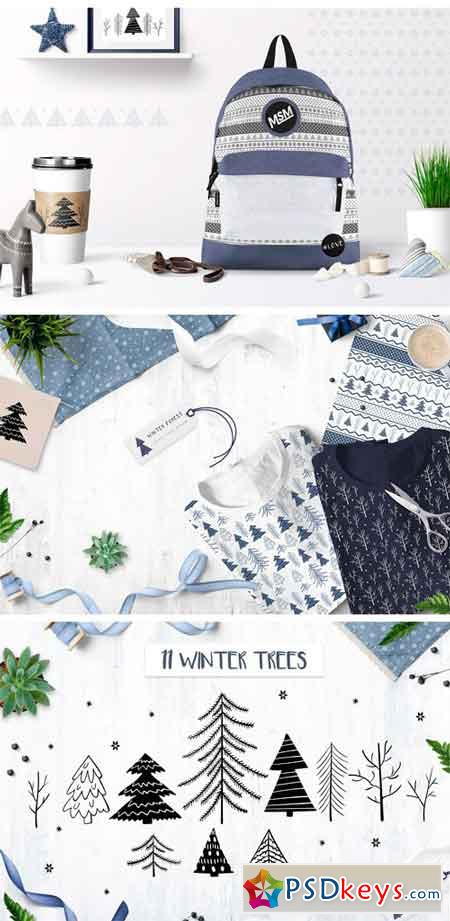 Winter Forest Seamless Patterns 2039066