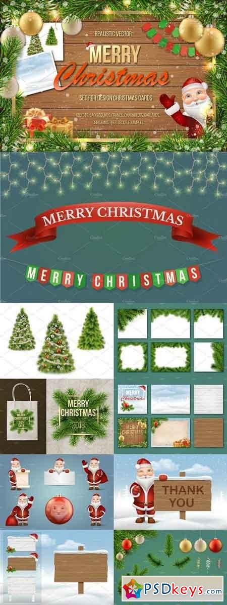 Set for Merry Christmas cards 2028324
