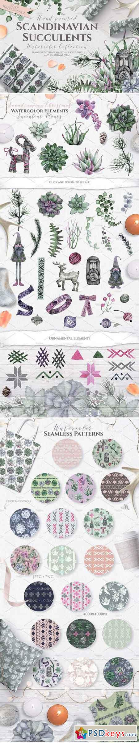 Watercolor Scandinavian Succulents 2072289