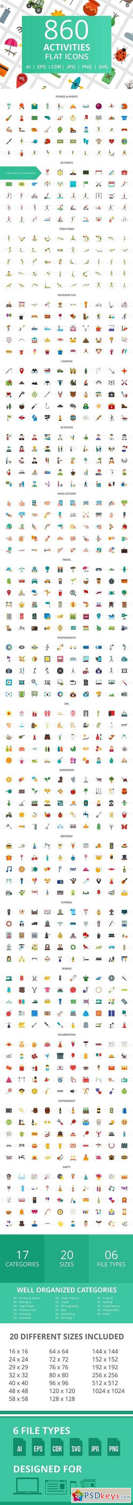 860 Activities Flat Icons 2056027