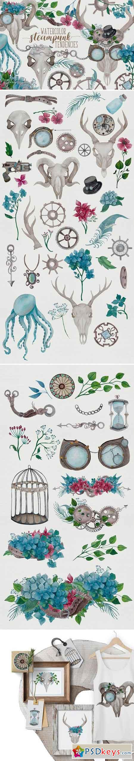Watercolor Steampunk Graphics 2070866