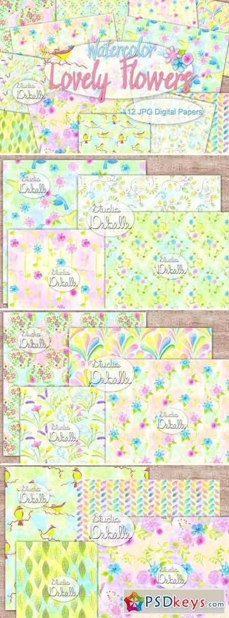 Lovely Flowers - Watercolor patterns 2070428
