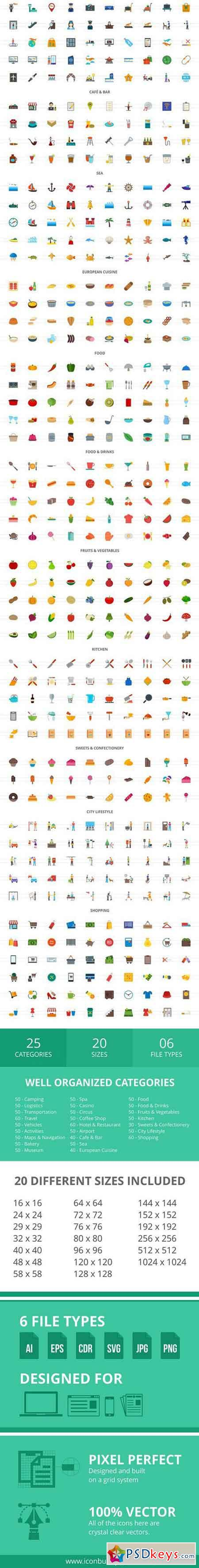 1240 Food & Travelling Flat Icons 2056302