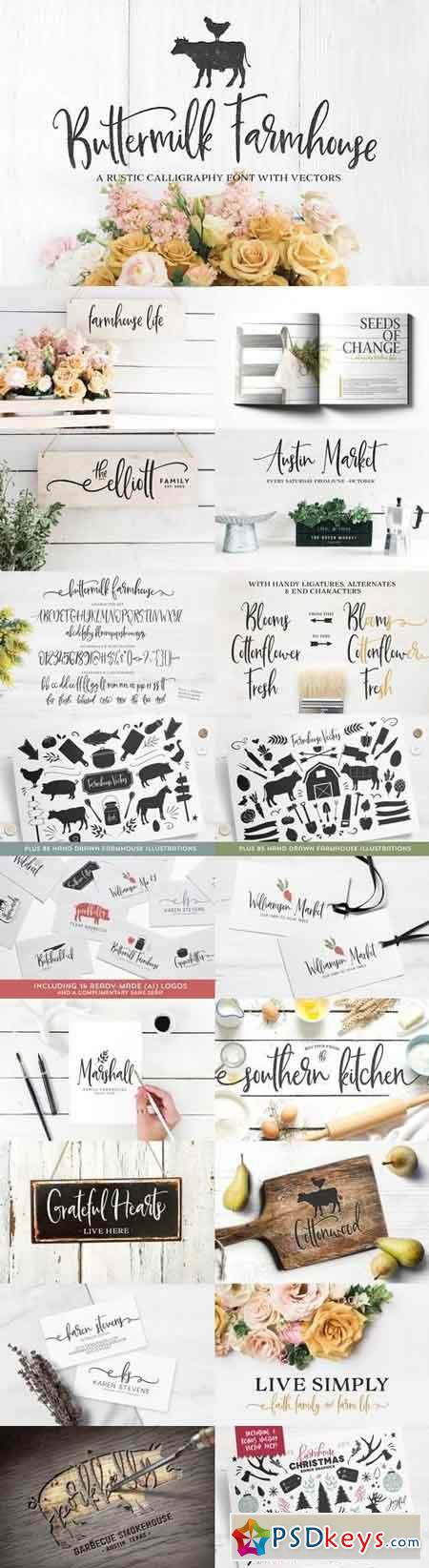 Buttermilk Farmhouse Type & Graphics 1464048 » Free Download