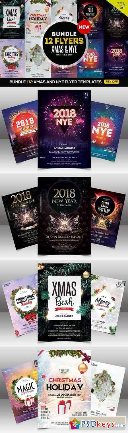 BUNDLE - 12 XMAS & NYE FLYERS 2063439