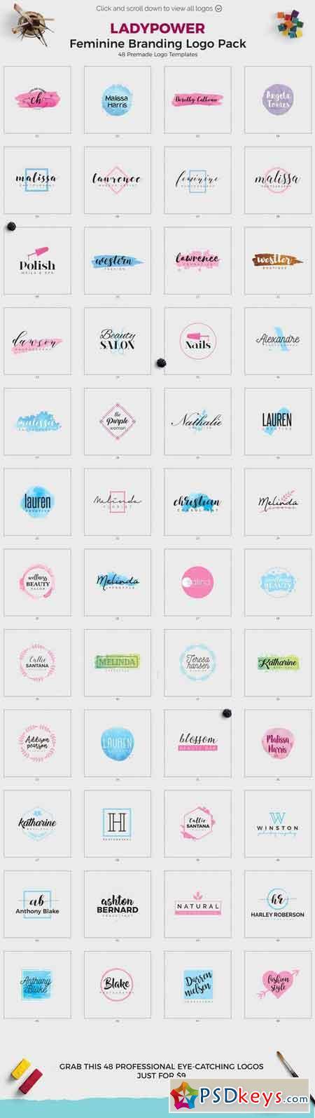 LADYPOWER Feminine Branding Logo Set 1453011
