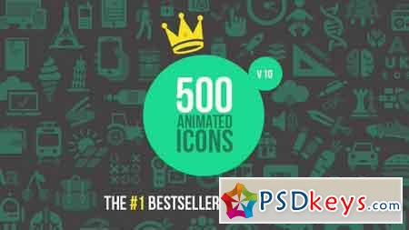 500 Animated Icons v10 5586340 - After Effects Projects