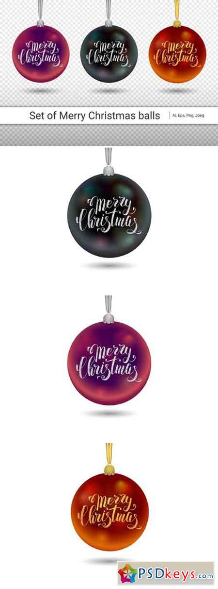 Xmas decoration black glass ball with silver inscription Merry Christmas 2121179