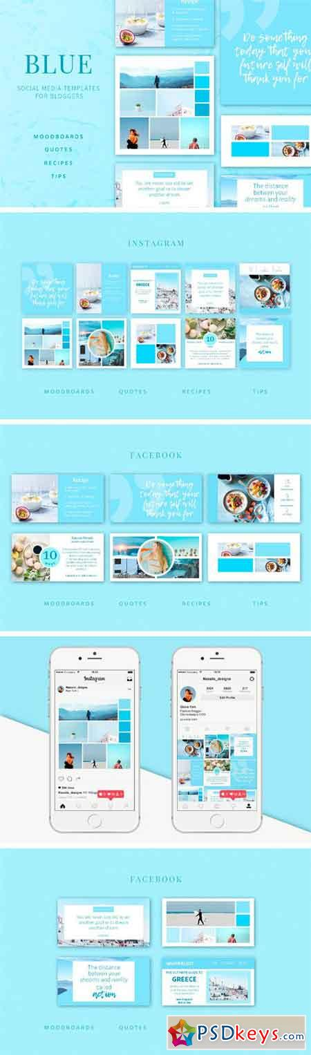 BLUE Social Media Templates Pack 2100850