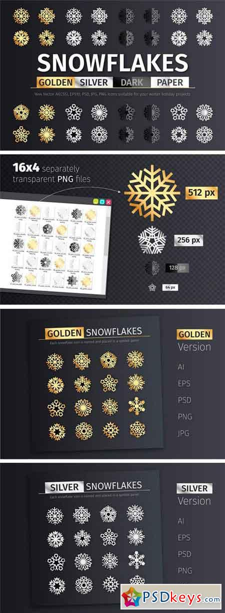 Golden and Silver Snowflake Icons 2112781