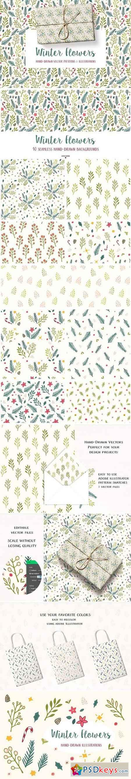 Winter Flowers Christmas Patterns 2056294