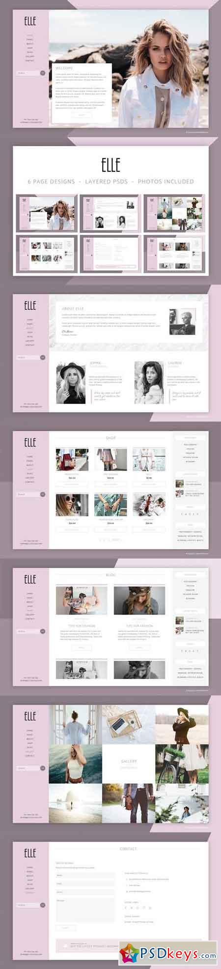 Elle Fashion Shop & Blog Website PSD 1479041