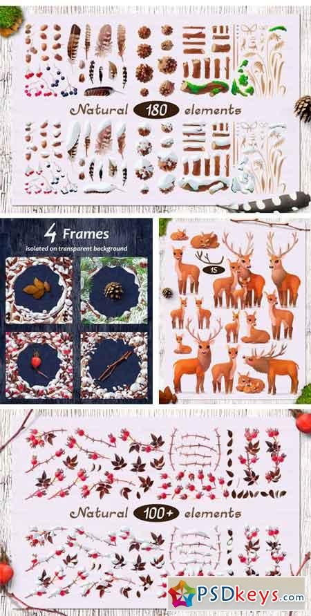 Vector SET Winter Forest 2130761