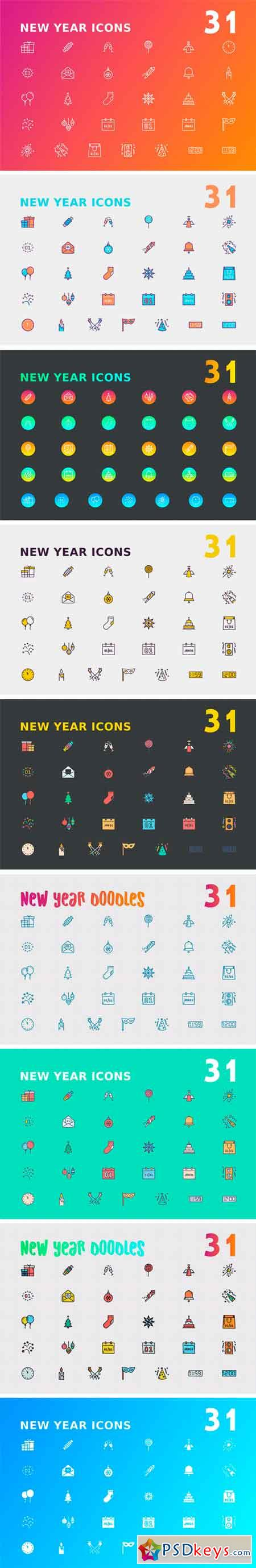 New Year Icon Bundle 2131423