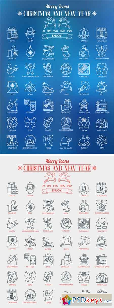 Outline Icons Christmas and New Year 2112777