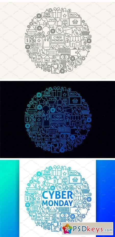 Cyber Monday Line Art Icons 2063156