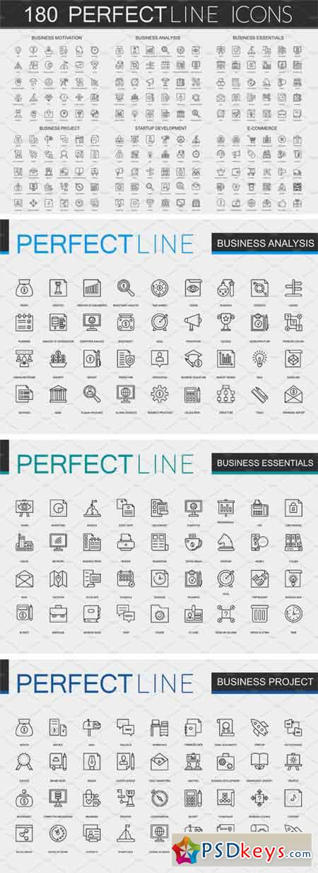 180 Perfect Line Concept Icons 2101112