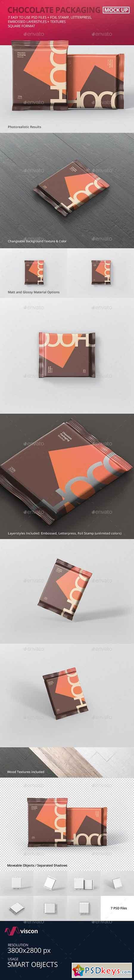Foil Chocolate Packaging Mockup - Square Size 21180593