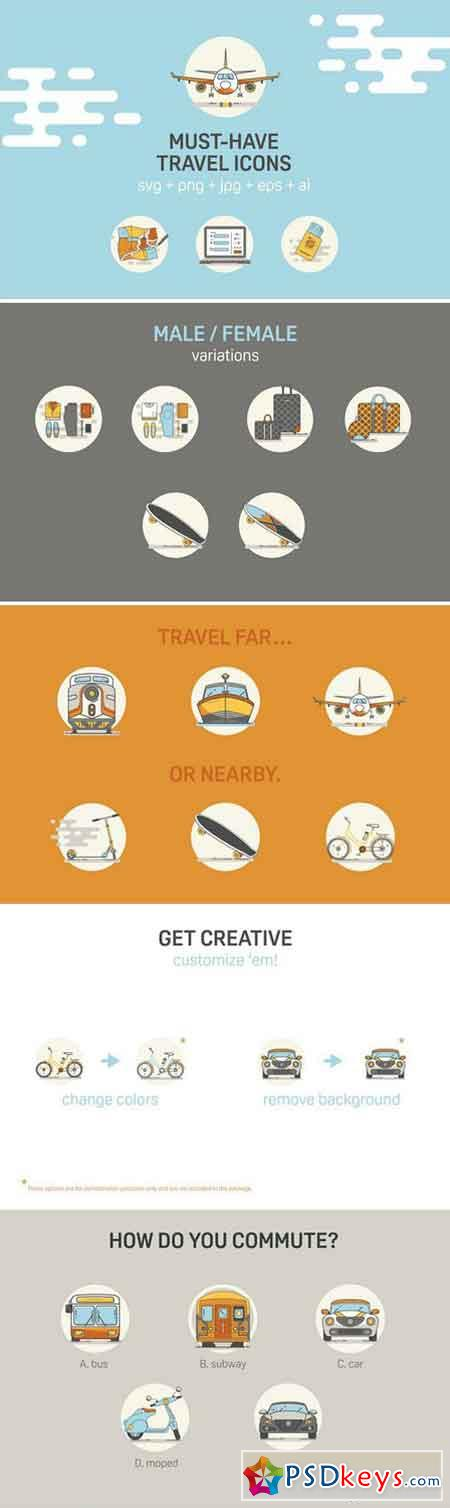 Detailed Customizable Travel Icons 2122470