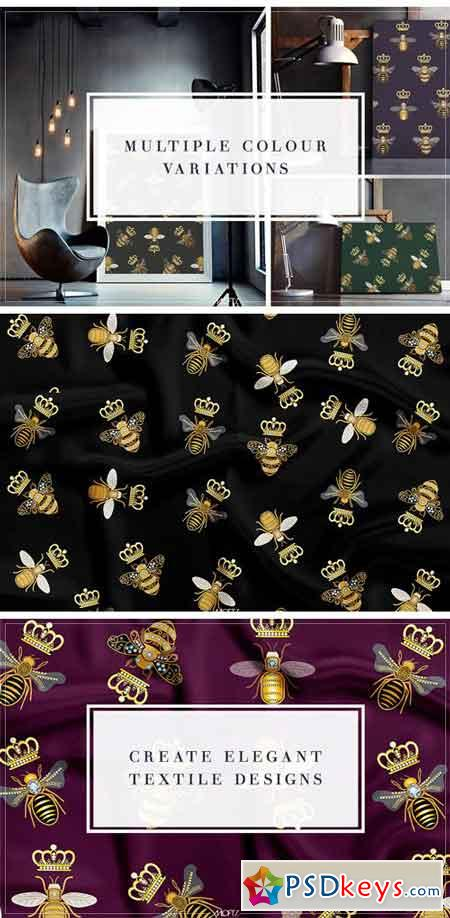 Queen Bees Vector Pattern 2028405
