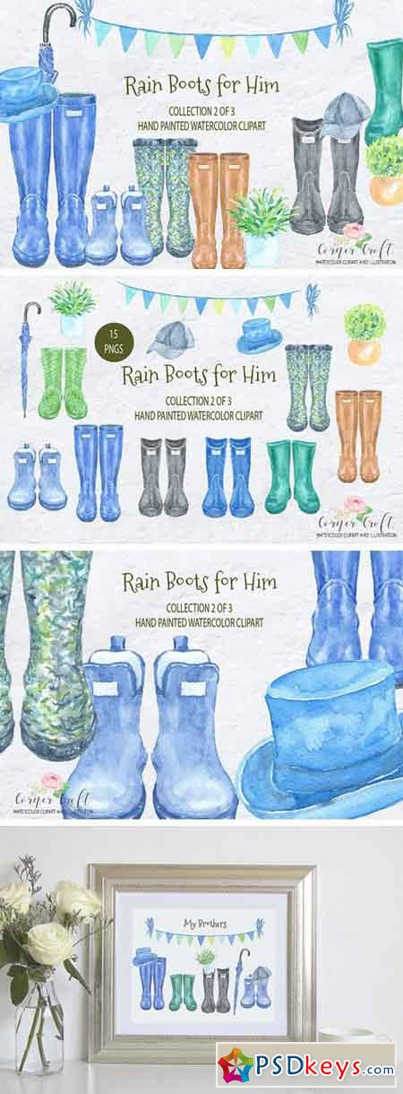 Watercolor Rain Boots for Him 2104023